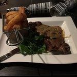 Steak Diane main course. Very nice.