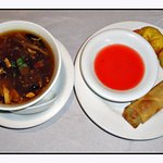 Hot and sour soup, crab rangoons and spring roll that came with lunch special