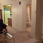 View from door to living room / bathroom