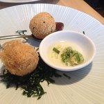 Quail egg croquette, sesame ball with fois gras