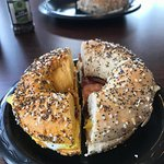 Everything bagel egg and cheese 🧀
