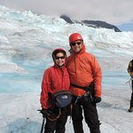 Suited up and trekking on the glacier