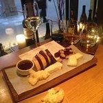 French cheese platter + white wine + wine flight