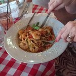 Beautiful pasta with plenty of fresh prawns