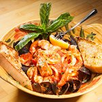 Seafood Rustica Premium Shrimp Mussels Fresh Fish in our provencal sauce over orzo pasta