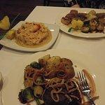 Scallops, Lobster Risotto and Filet Mignon. Delicious!!