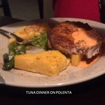 tuna steak over polenta