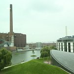 In the left, the factory. In the right, the hotel.