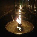 Fire fountain ambiance outside