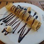 Banana and chocolate pancake, yum!