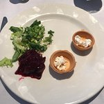 Untouched goats cheese starter as set in front of me!!!!! Apparently.......