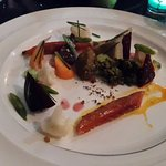 One of the plates, with home cured salmon and vegetables.