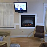 Adjustable tv/dvd player and electric fireplace