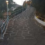 The steep climb to the restaurant