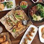 Six selections of Hawaiian poke, island tacos, rice bowls, seasonal chalkboard specials