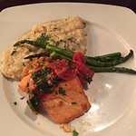 Tuscan Salmon with rosemary risotto and fresh asparagus