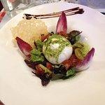 Burreta et son trio de tomates au pesto / risotto gambas :)