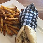 Smoked Chicken Pita with fries