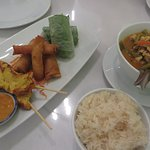 Happy Platter Appetizer (left), Thai stickey rice, and Curry Chicken