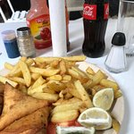 samosas and chips and a coke