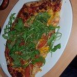 my half of a super yummy veggie pizza