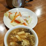 Complimentary Pickled Cabbage and Hot & Sour Soup