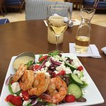 Greek salad with shrimp - tasty and fresh