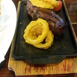 Sirloin steak with battered onion rings