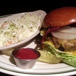bacon cheeseburger with cole slaw