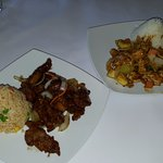 Lunch special: honey pepper port with fried rice (left) and satay chicken with plain rice (right
