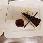 After eight cheesecake with cream and Berry compote