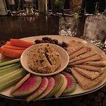 Hummus with Hendricks & Tonic and the Autumn Squash Bisque. Yummy!