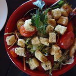 Delightful garden salad with croutons