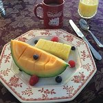 Two course breakfast with coffee, tea, and juice