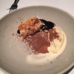 Arroz con Leche with Persimmons, Chocolate Sauce, Persimmon Ice Cream