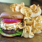Chesapeake Crabmeat-Topped Burger with Twisters