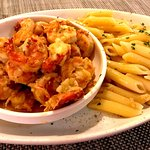 Garlic Prawns with Penne Pasta.