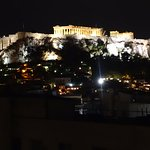 This is the view of the Acropolis at night from the top floor restaurant