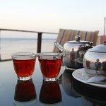 black tea at seaside