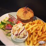 Chicken Style Vegan Burger meal, yes your eyes see correctly.. served with Vegan coleslaw!!!!!