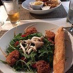 Scallop Salad & Fish and Chips at Bar Zin
