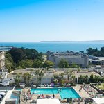 View of pools, Aztec Bistro and Torquay seafront