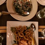 Kale salad and calamari apps