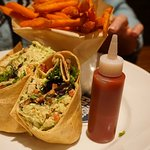 Del Frisco's Grille Avacado Wrap and Sweet Potato Fries