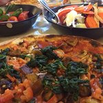 Vegetarian pizza, no cheese by request and lovely tomato and basil salad