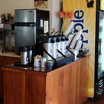 Self-serve, free refills with Large coffee, on premises