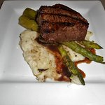 Buffalo Steak with Mashed Potatoes and Asparagus
