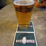 White Buffalo Brew, Glass , and Coaster