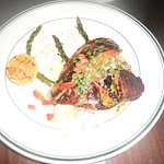 Blackened tilapia with lemon caper sauce and asparagus