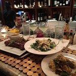 Strip steak, salad, artichoke appetizer!